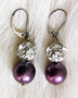 "PLUM PRINCESS - Sterling silver lever-backs. 1.25"" Hand-set Swarovski crystal. $58"
