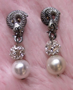 "SNAKE PRINCESS - Pearl Earrings. 1"" Crystal/silver. Pierced. $52"