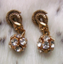 "SNAKE CZARINA Earrings - Crystal/gold.   .50"" Pierced $54"